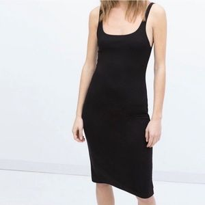 NWOT Zara Pencil Bodycon Midi Black Dress